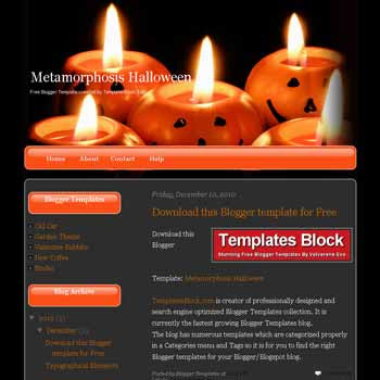 Metamorphosis Halloween blogger template converted from wordpress theme to blogger. Halloween template blogger