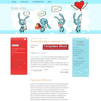 Valentine Rabbits blogger template. Valentine template to blogger template