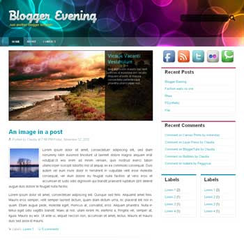 Blogger Evening blogger template. image slider blogger template. 3 column footer template blog
