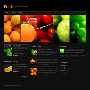 Fresh blogger template. black blogger template