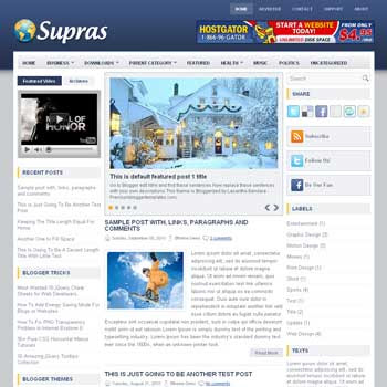 Supras blogger template. slideshow template blog. pagination for blogger template. magazine style blog template. template image slider blog