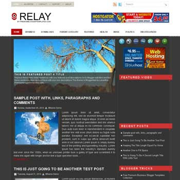 Relay blogger template. pagination for blogger ready. magazine style template blog. image slider template blog