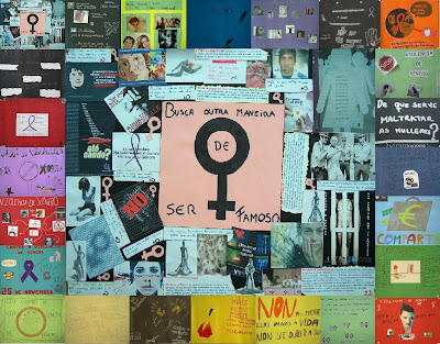 Montaxe cos carteis participartes rodeando ao cartel gañador do concurso de carteis contra a violencia de xénero