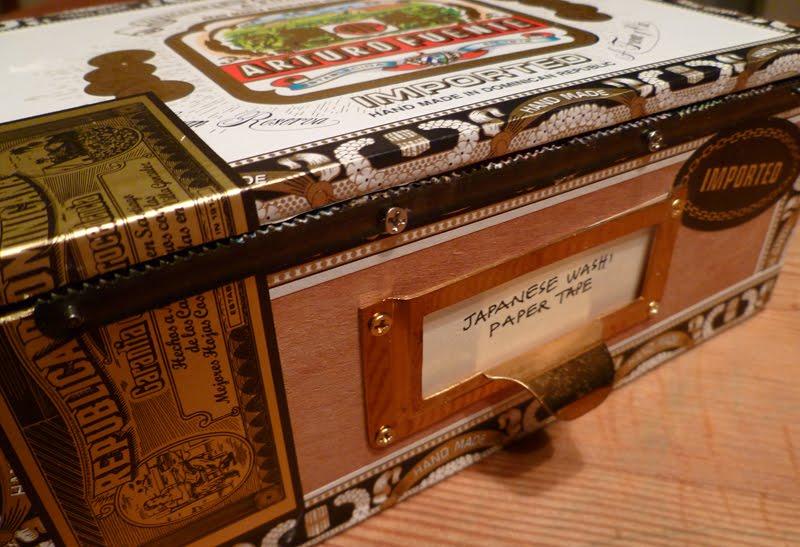 Cigar box turned washi paper tape dispenser cathe holden for Cardboard cigar box crafts