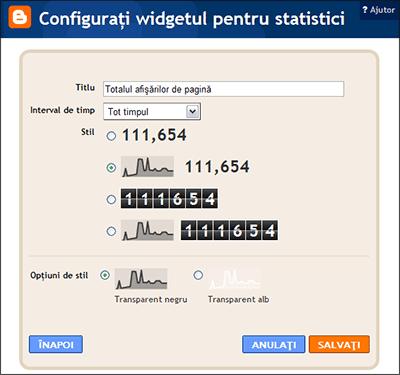 gadget statisticile blogului