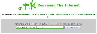 Dominio gratis .tk para Blogger