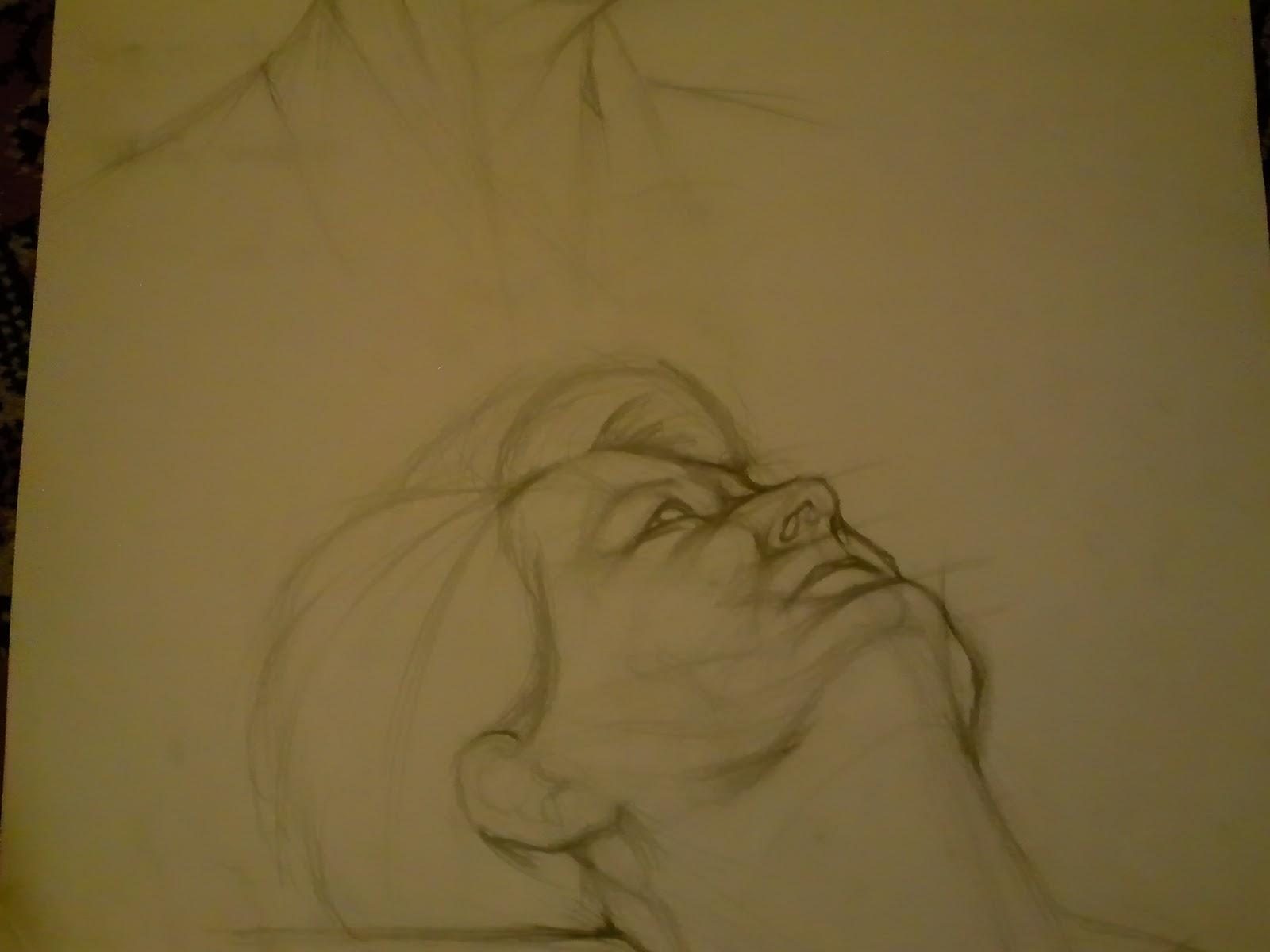 portré-vázlat, ceruzarajz, modell