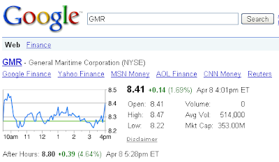 Stocks search in Google
