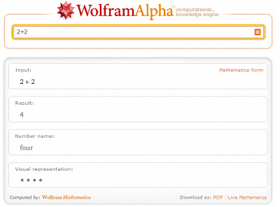 search for 2+2 in WolframAlpha.com