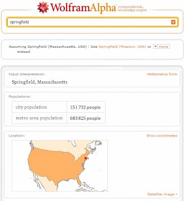 search for springfield in WolframAlpha.com