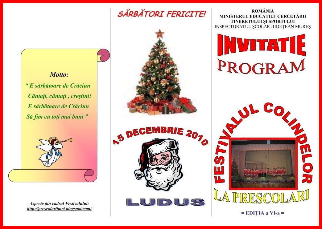INVITATIE - PROGRAM LA FESTIVALUL CONCURS PENTRU PRESCOLARI - COLINDE ...