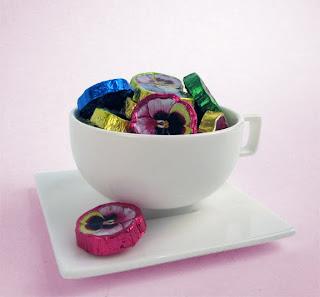 Teacup & Saucer with Chocolate Pansies