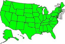 States Visited So Far (in green)