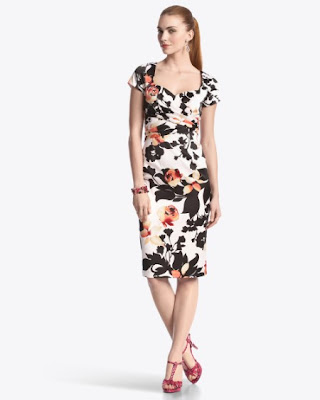 White House Black Market, Floral Dresses, pink black white, work appropriate dresses, spring dresses