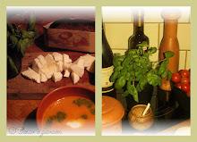 Tomatsoppa med basilikaolja och mozzarella