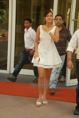 Bollywood Actress Neha Dhupia Pictures in short dress at Canon Cameras event
