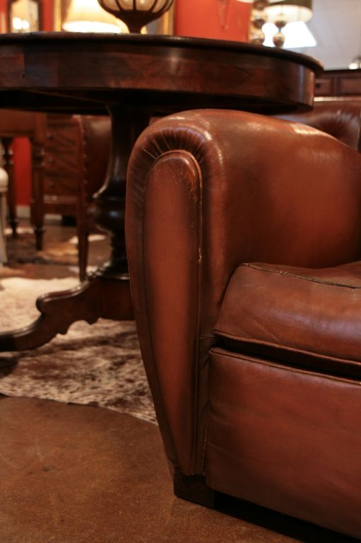 Awesome French Club Chair #19 - Beautiful Round Curves Accent The Armrest Of A French Art Deco Club Chair.