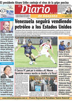 El Diario de Guayana (Bolívar) (31 de Agosto 2009)