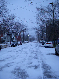 Snowy street in Tremont bathed in Blue Light
