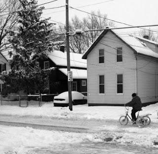 Tremont Biker in the Snow Storm