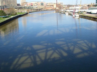 Shadow of Carter Road Bridge on Cuyahoga