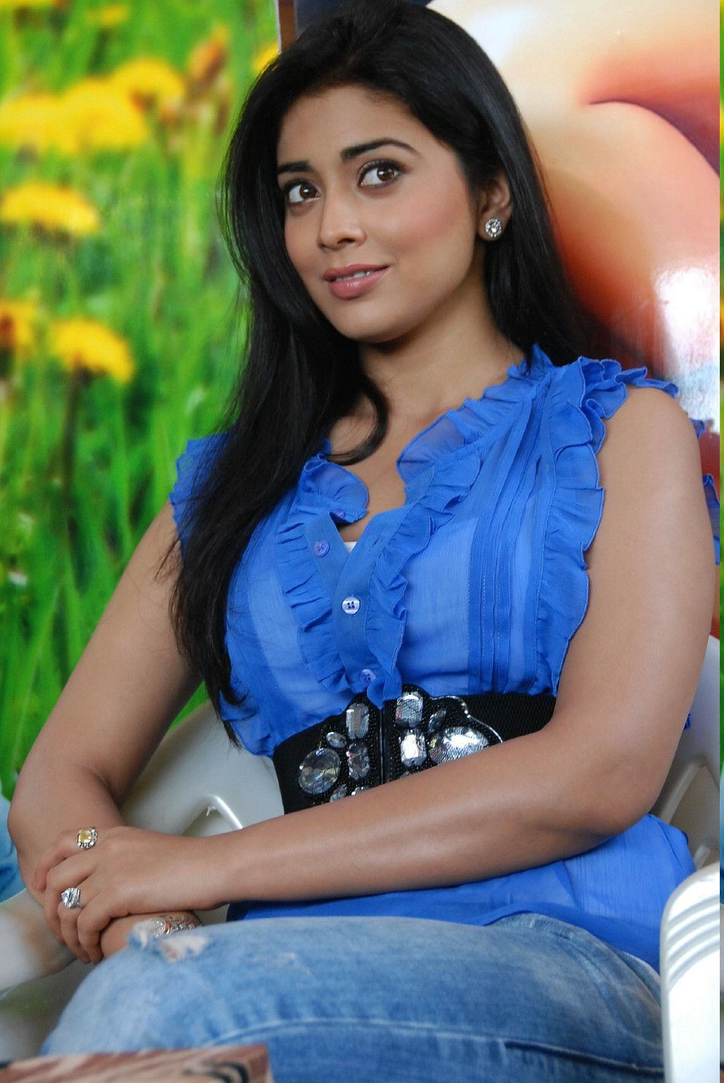 Shreya saran hot armpits in transparent blue shirt wallpapers