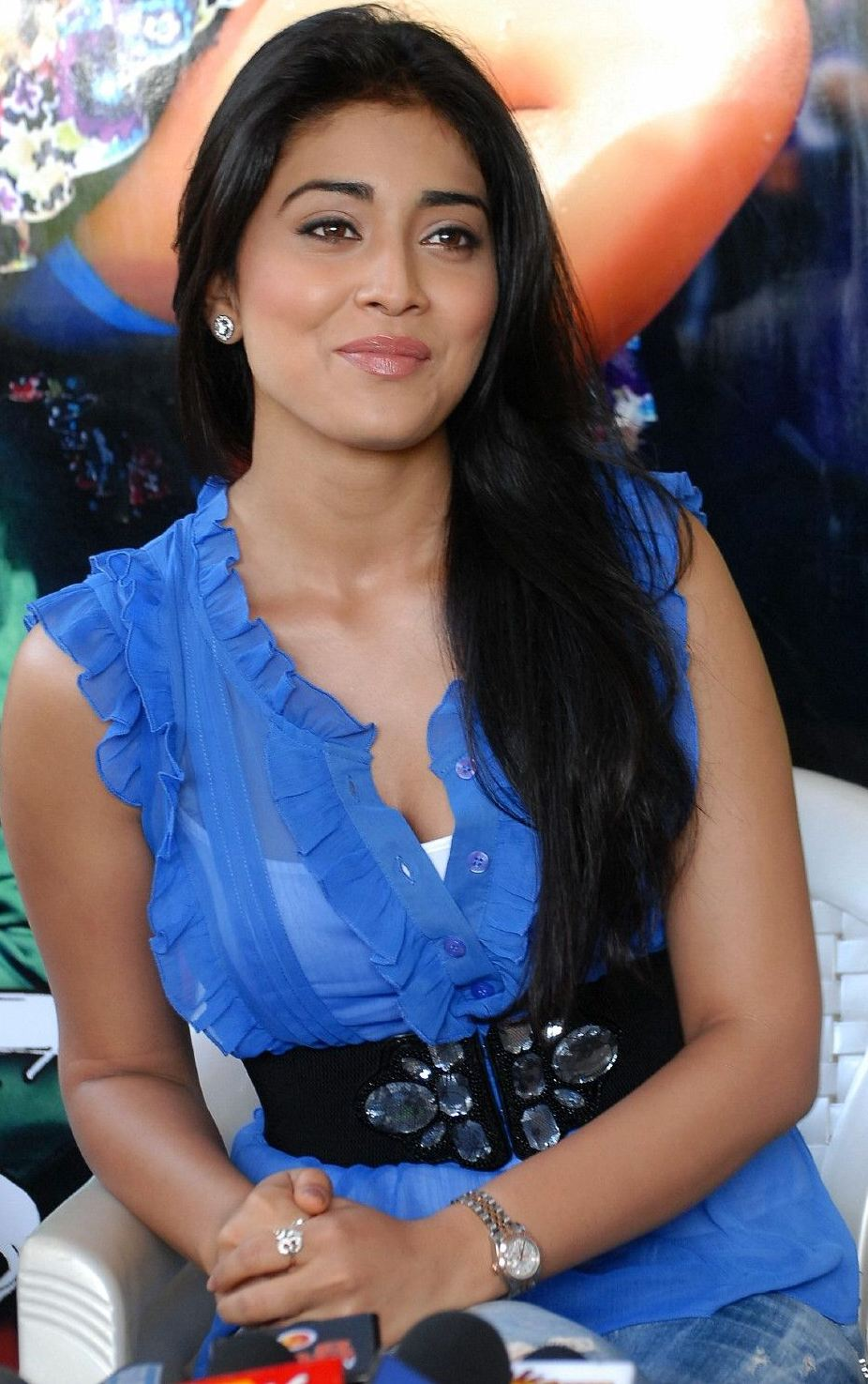 Shreya saran hot armpits in transparent blue shirt gallery pictures
