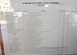Olimpiada de Istorie - faza judeţeană, rezultatele....
