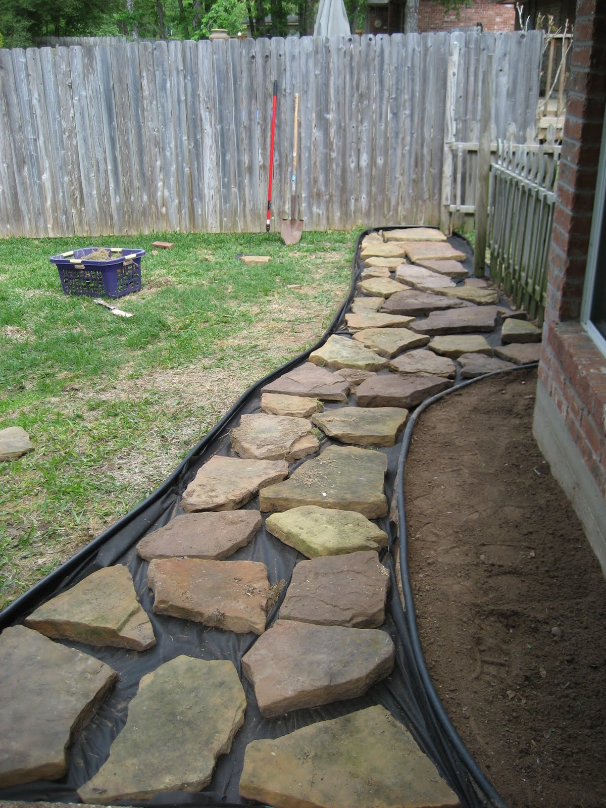 Bridget and bear project backyard walkway - River stone walkway ideas seven diy projects ...