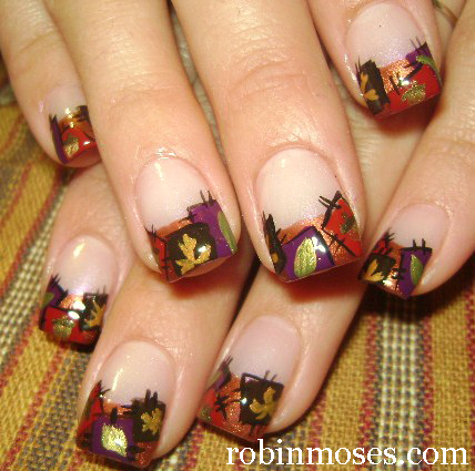 """fall thanksgiving autumn nail art"" ""autumn leaves nail"