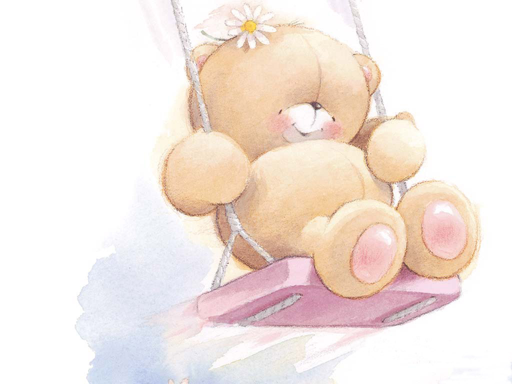 baby bear on the swing cartoon wallpaper