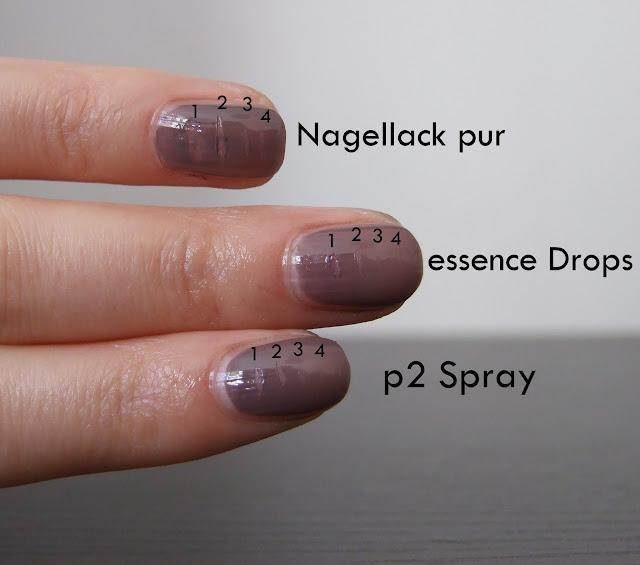 lilaslaunen vergleich p2 quick dry spray vs essence. Black Bedroom Furniture Sets. Home Design Ideas