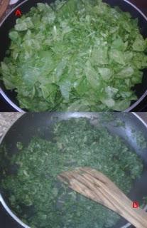 Rehogando las hojas de espinaca.