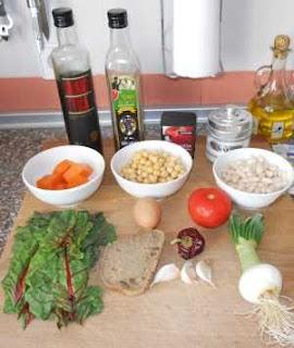 Ingredientes para el potaje de acelgas y calabaza.