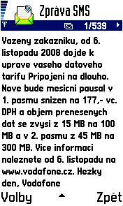 Vodafone informační zpráva o zlevnění dat