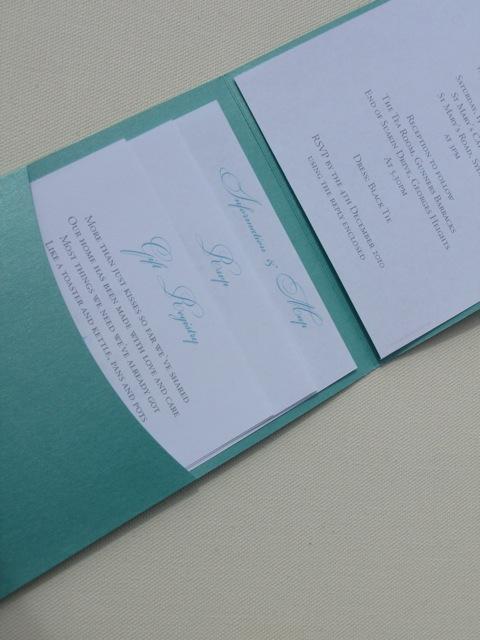 Reds Black wedding invitations Shimmering Sapphire pockets Tiffany Blue