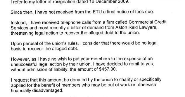 Resignation Letter Union Steward Union Resignation Letter Example ...