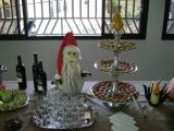 Papai Noel de melancia, melão, nabo e berinjela