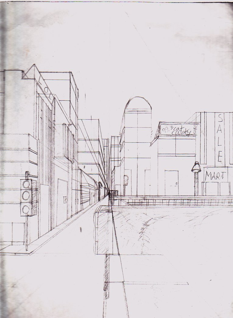 perspective drawing one point perspective