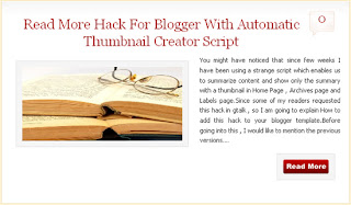 read more hack Read More hack for Blogger with automatic Thumbnail creator script