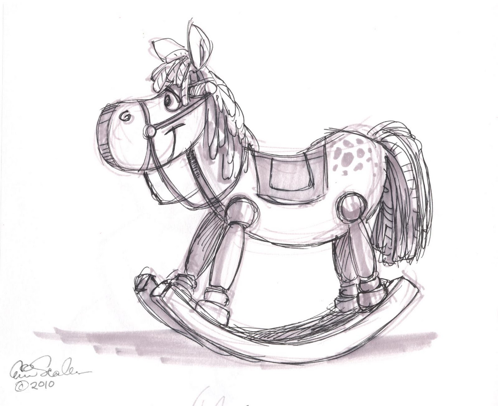rocking horse sketch templates