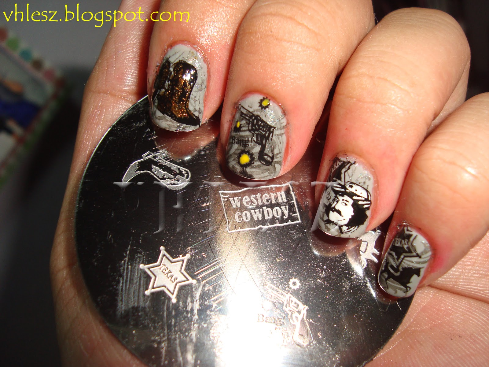 My Colorful Nailart Notd Western Cowboy Nail Art And Christmas Gifts