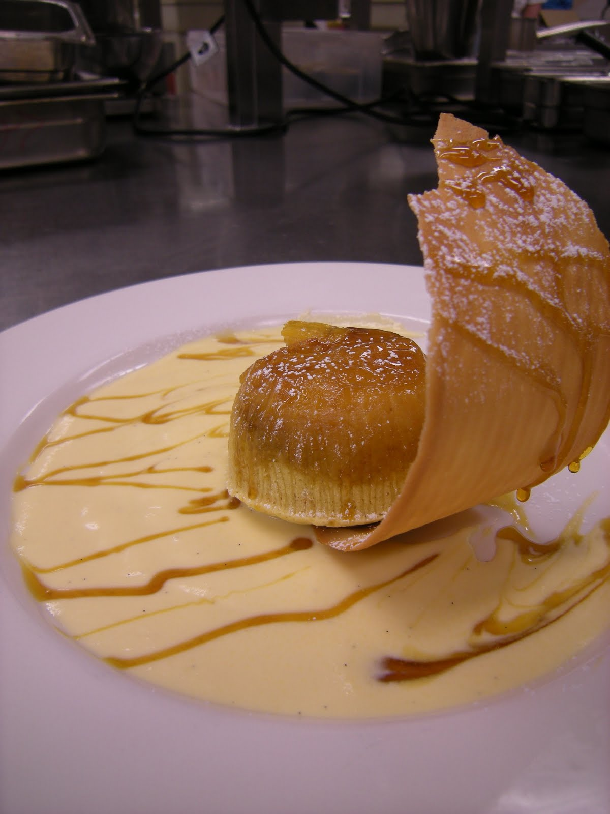 ... Orange and almond sponge pudding with Crème Anglaise and Tulip Paste