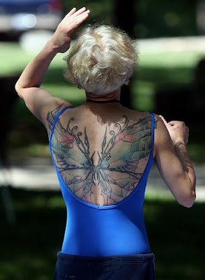 Butterfly Tattoos in Back Women