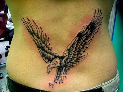 Combining two extremely popular tattoo ideas, the bald eagle and a tribal