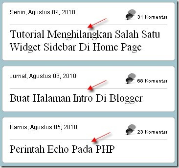 Display Posts in Title Only in Blogger