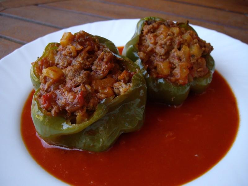 Mis recetas de cocina pimientos verdes rellenos de carne - Pimientos rellenos de carne picada y bechamel ...