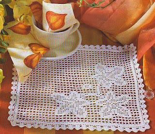 Филейная салфетка с листьями