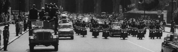 7/2/63: great security-press/ photographer's flatbed truck in front of limo
