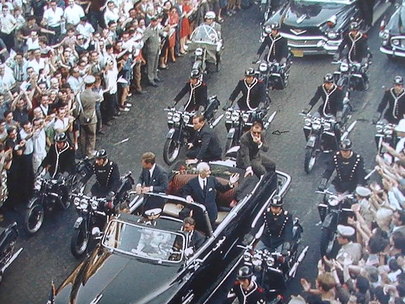 Blaine and Grant on the rear of the limo, Rome 7/2/63
